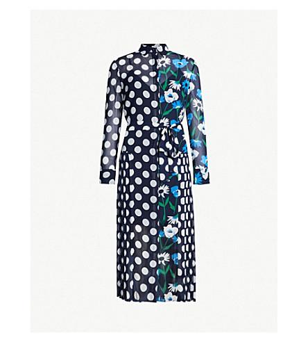 KITRI Gabriella polka dot and floral-print crepe dress (Navy multi
