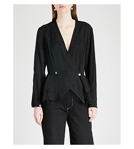 KITRI Persephone double-breasted jacquard blouse (Black