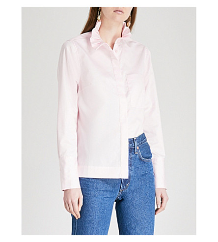 KITRI Ivy frilled-collar cotton-poplin shirt (Pink