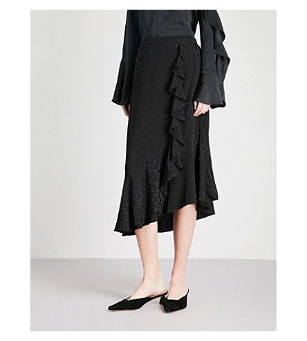 KITRI Lyla ruffled jacquard midi skirt (Black