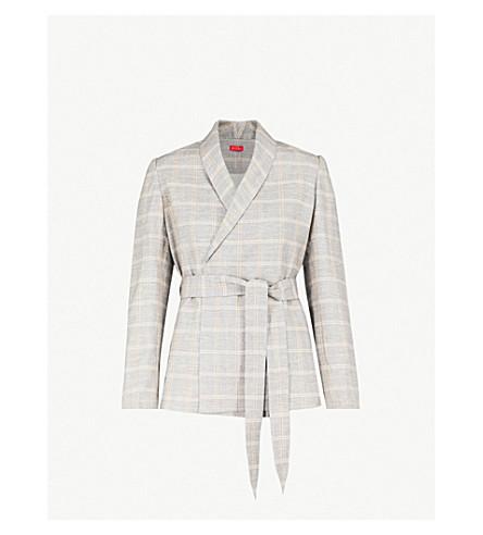 KITRI 卡米拉检查棉和亚麻混纺夹克 (灰色/黄色 + 检查