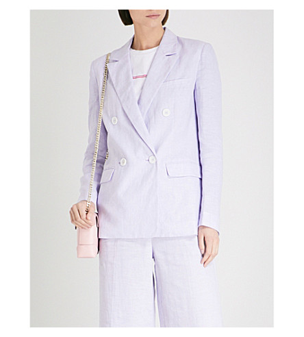 KITRI Dominique double-breasted linen blazer (Lavender