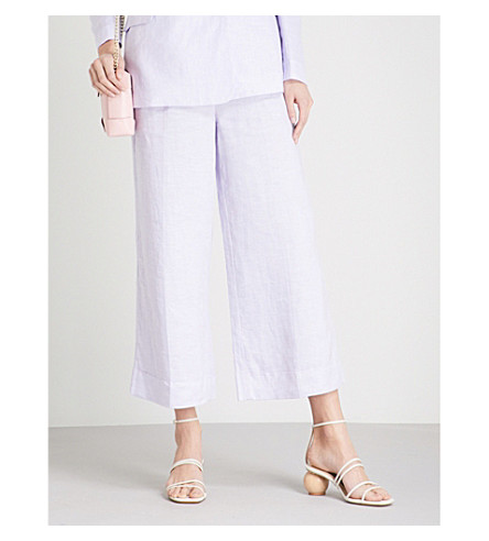 KITRI Carlotta wide-leg linen trousers (Lavender