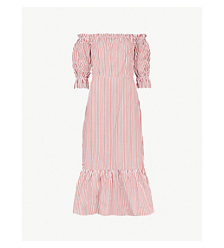 KITRI Cora off-the-shoulder striped cotton midi dress (Red/white+stripe