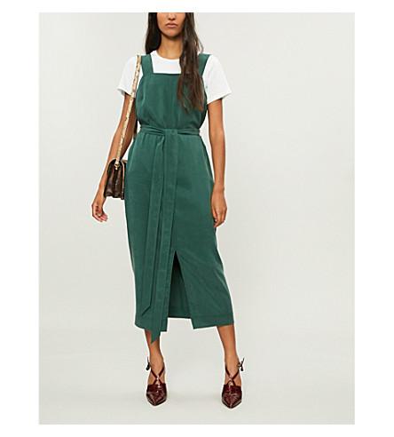 KITRI Morgan belted crepe midi dress (Forest+green