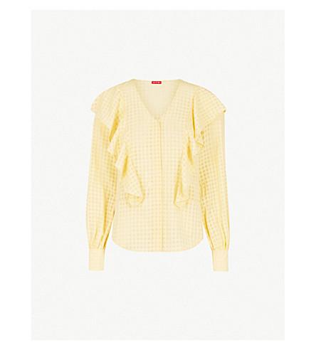 KITRI Akane ruffled crepe shirt (Yellow