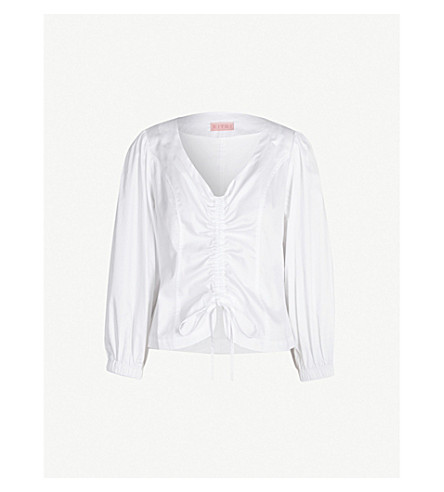 KITRI Riley ruched cotton top (White