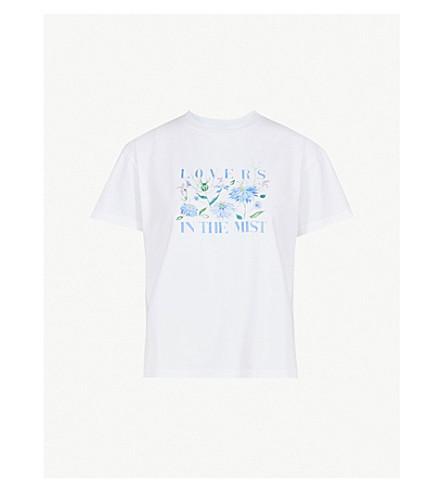 KITRI恋人草甸打印平纹针织棉 T 恤 (白色