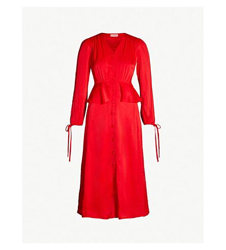 KITRI Lana V-neck ruched peplum satin midi dress (Red