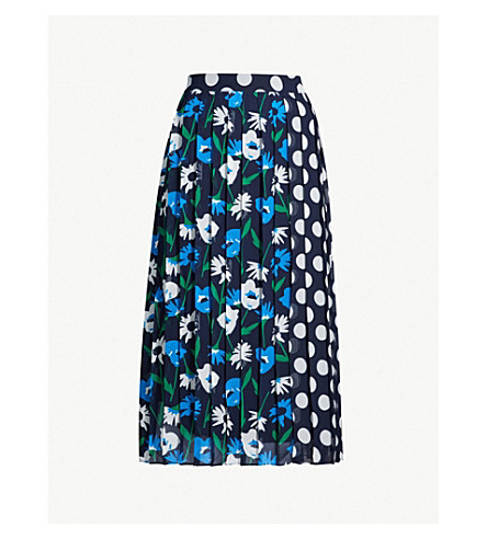 KITRI Lavinia polka dot and floral-print crepe skirt (Navy multi