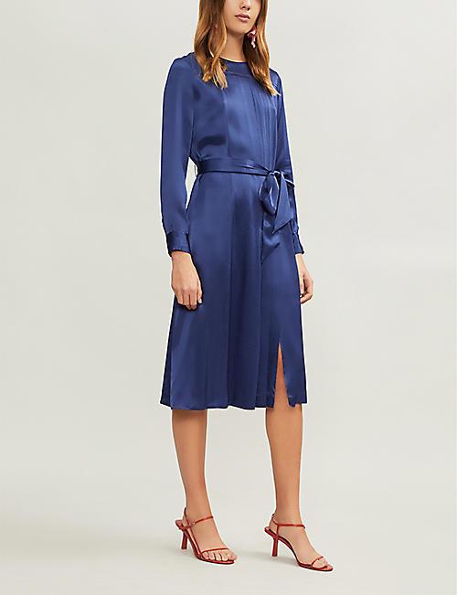 56e1fa18d7 KITRI Adeline pleated satin dress