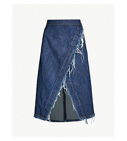 KITX Conservation high-waist asymmetric frayed denim skirt (Blue