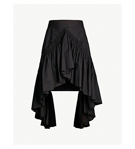 KITX Adaptation asymmetric ruffled cotton skirt (Black