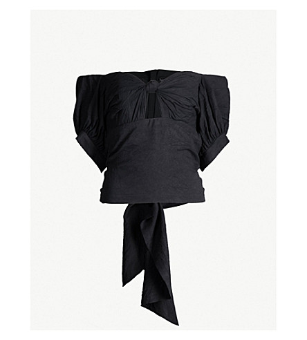 KITX Unearthed off-the-shoulder knotted silk-crepe top (Black