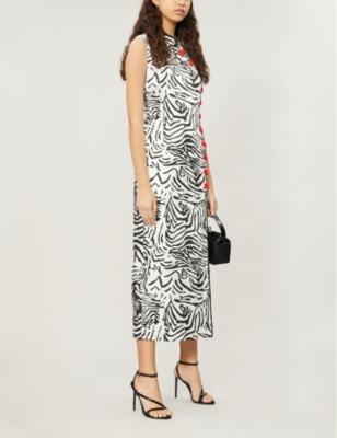 Jean tiger-patterned silk-satin dress