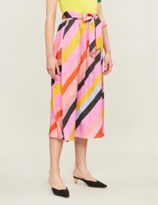 Audrey striped silk-satin midi skirt