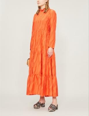 Judy frilled-collar woven dress