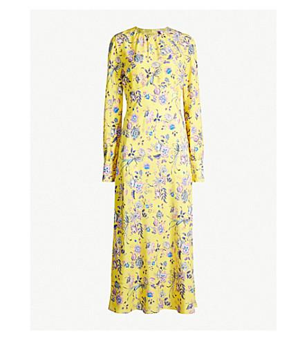 LES REVERIES Floral-print silk-crepe de chine dress (Jannah yellow