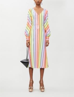 Thora striped sequinned midi dress