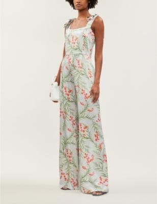 Fletcher floral-print wide-leg silk-satin jumpsuit