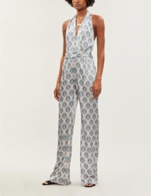 Heyday paisley-print silk-satin jumpsuit