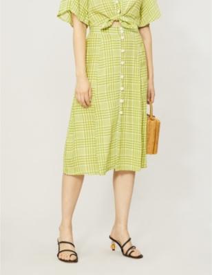 Marin checked high-waist rayon midi skirt