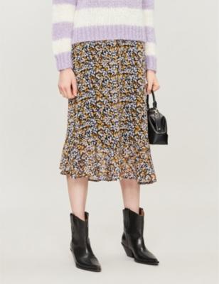 Georgina floral-print crepe skirt