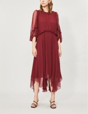 Dylan long-sleeved crepe midi dress