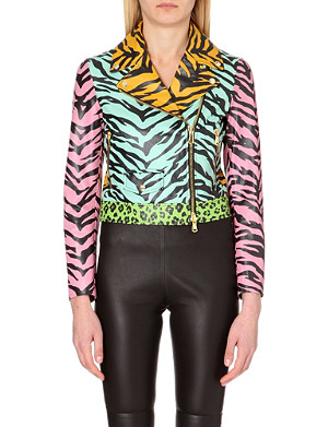 MOSCHINO CHEAP AND CHIC Animal-print leather biker jacket