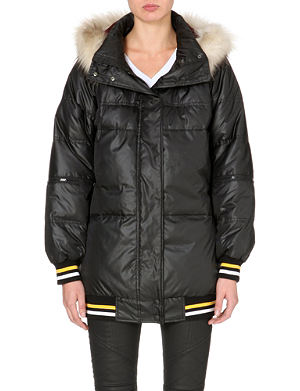 DKNY X CARA Faux fur-trim quilted coat