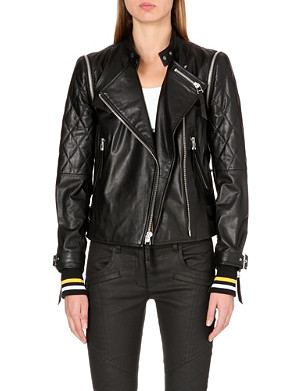 DKNY X CARA Quilted leather moto jacket