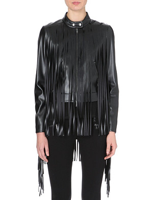 DKNY Faux leather allover fringed biker jacket