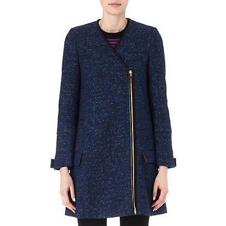 M MISSONI Leather-trimmed coat (Denim