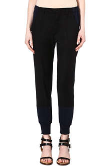 MM6 Contrast-panel cuffed trousers