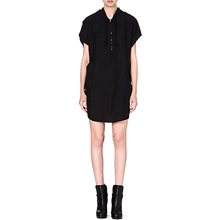 MM6 Draped silk dress (Black