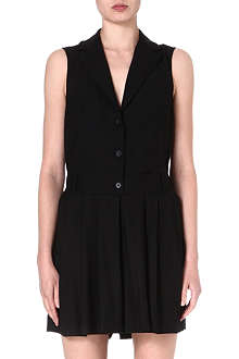 MM6 Pleated wool-blend playsuit