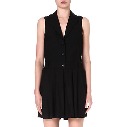 MM6 Pleated wool-blend playsuit (Black