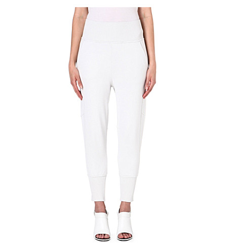 MM6 Tapered jersey jogging bottoms (White