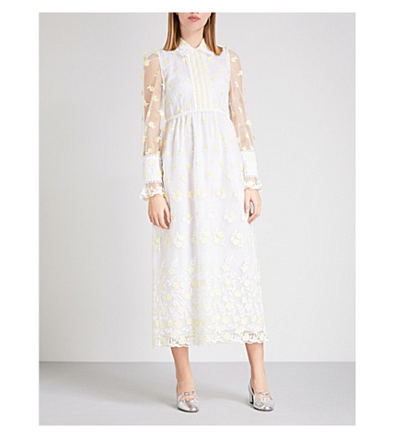 L'ORLA Christabelle embroidered tulle dress (White+/+yellow