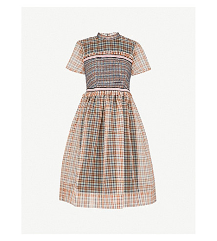 L'ORLA Ada organza smock dress (Brown mix check