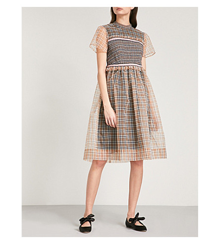 L'ORLA Ada organza smock dress (Brown+mix+check