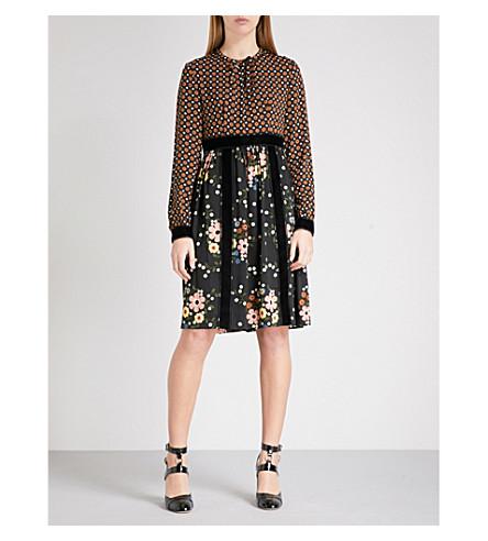 L'ORLA Ethel crepe dress (Tan+black