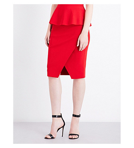 KENDALL & KYLIE Overlap stretch-knit pencil skirt (Bright+red