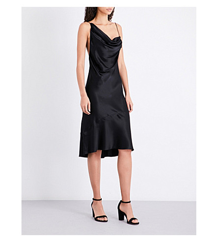 KENDALL & KYLIE Asymmetric-neck silk-satin slip dress (Black