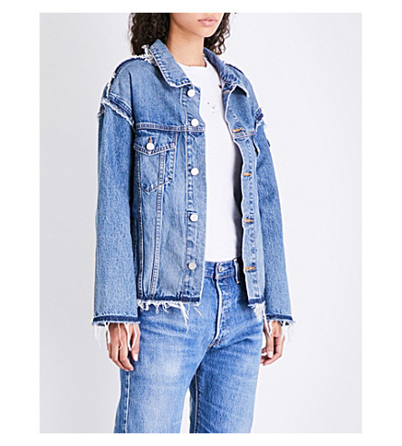 KENDALL & KYLIE Reconstruted denim jacket (Medium+wash+1