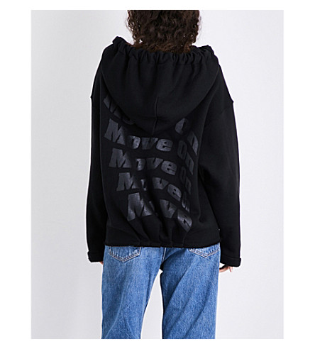KENDALL & KYLIE Move On oversized cotton hoody (Black