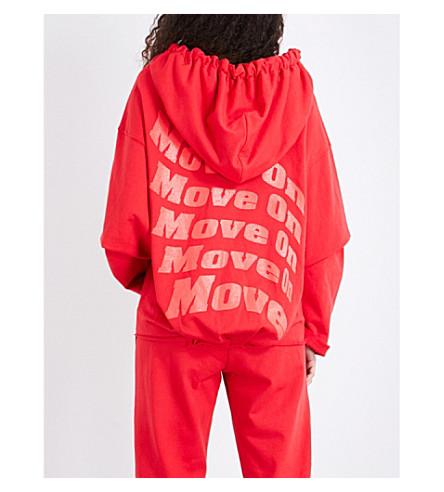 KENDALL & KYLIE Move On oversized cotton hoody (Red