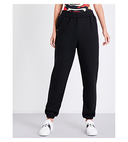 KENDALL & KYLIE Move On high-rise cotton-jersey jogging bottoms (Black