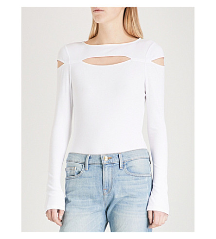 KENDALL & KYLIE Cutout-detail stretch-jersey body (Bright+white+bwt
