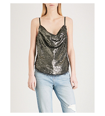 KENDALL & KYLIE Draped sequinned camisole (Silver+multi+slm